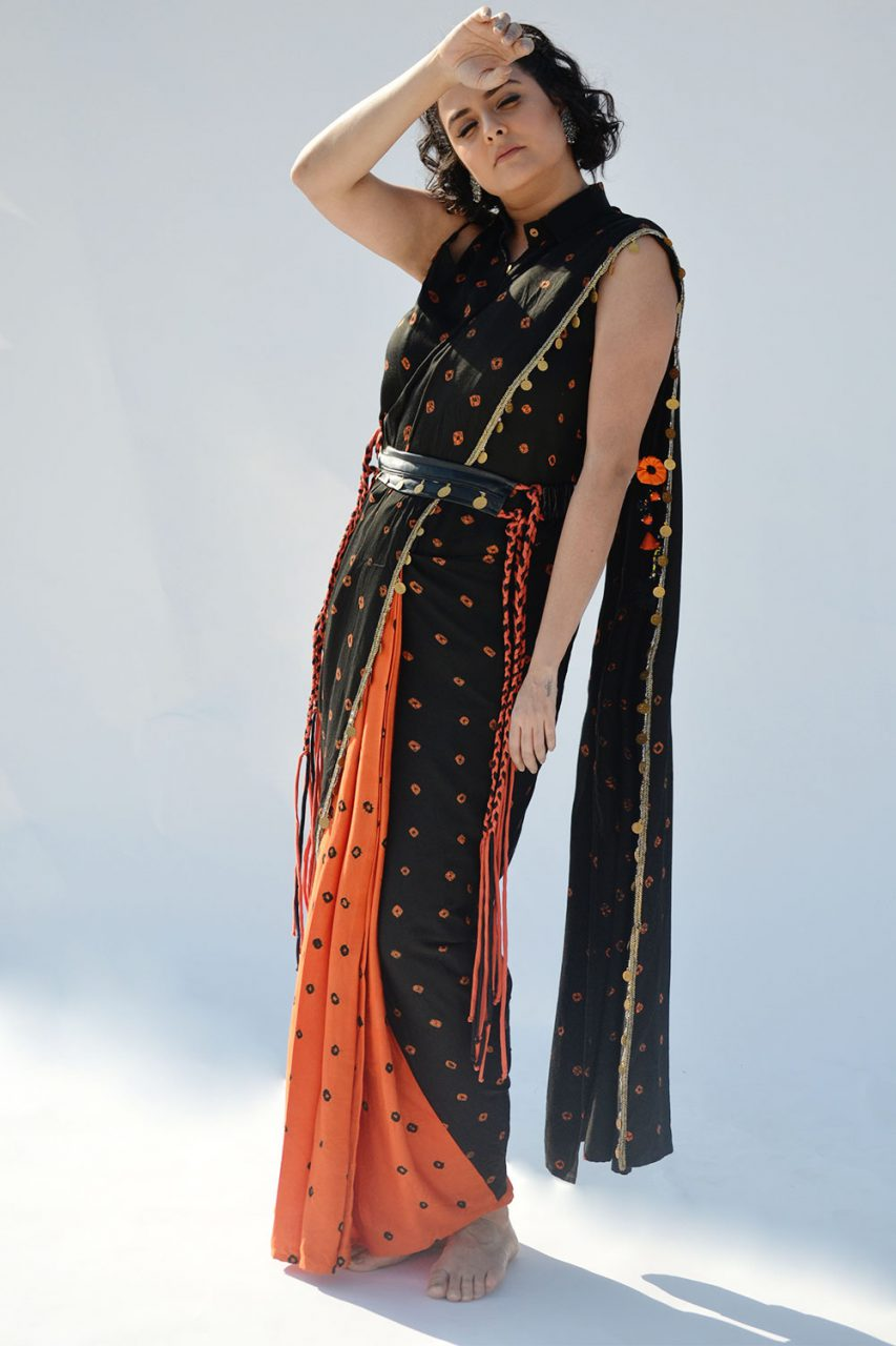 Orange/Black Pre Draped Saree with Top and Belt - Riviera Closet