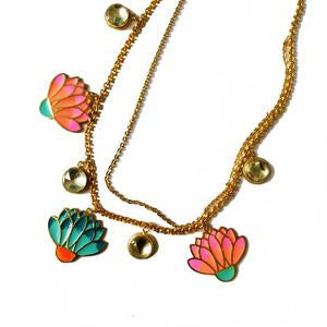 Gold-Plated Enamel Floral Bloom Necklace - Riviera Closet