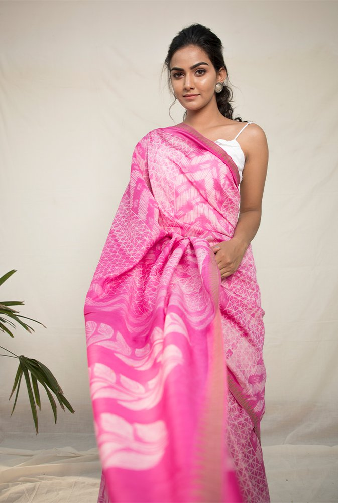 Hot Pink Shibori Chanderi Cotton Saree - Riviera Closet