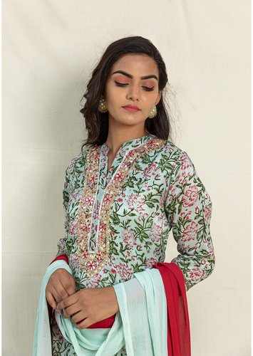 Floral Mint Green Kurta with Shaded Dupatta Set - Riviera Closet