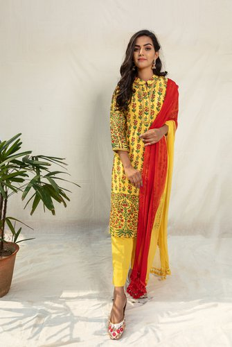 Yellow Upada Silk Floral Straight Kurta with Shaded Dupatta Set - Riviera Closet