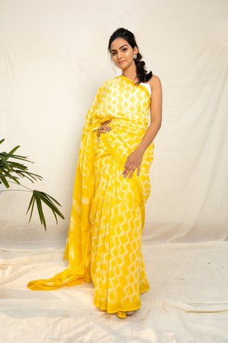 Sunshine Yellow Chanderi Shibori Tie-Dyed Saree - Riviera Closet