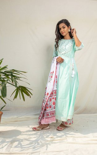 Turquoise Angrakha Kurta with Straight-Cut Pants Set - Riviera Closet