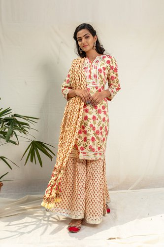 Red Rose Floral Kurta Sharara Set - Riviera Closet