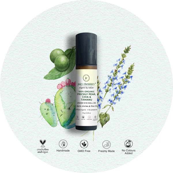 Organic Prickly Pear ,Chia & Tamanu Under Eye Roll On For Puffy & Dark Eye Circle - Riviera Closet