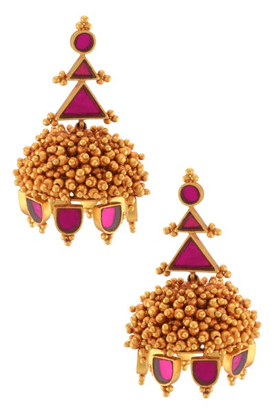 Gold Plated Pink Glass Rawa Ball Cluster Jhumka - Riviera Closet