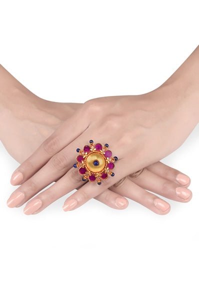 Gold Plated Pink Flower Ring - Riviera Closet