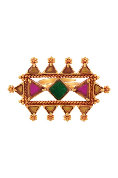 Gold Plated Square Triangle Motif Glass Ring - Riviera Closet