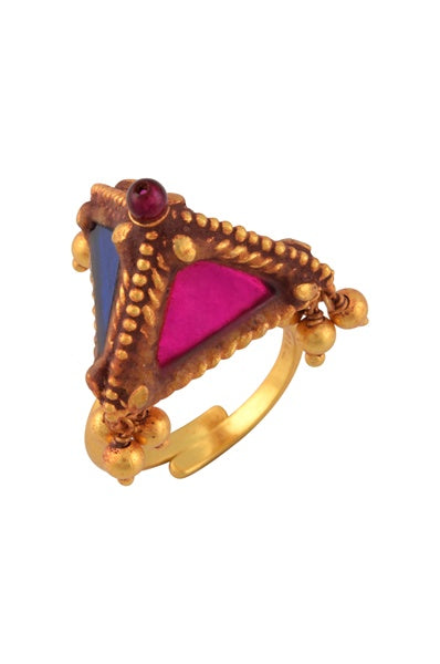 Gold Plated Colored Glass Pyramid Ball Drop Ring - Riviera Closet