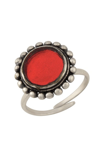 Silver Plated Red Glass Dome Ring - Riviera Closet