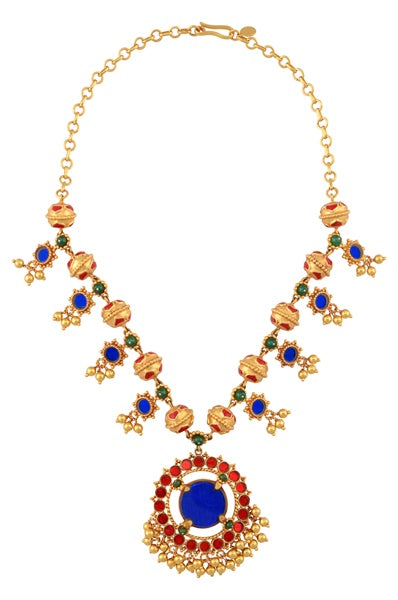 Gold Plated Lotus Rawa Bead Colored Glass Flower Necklace - Riviera Closet