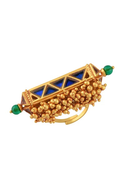 Gold Plated Pink Blue Glass Ball Cluster Navrang Taveez Ring - Riviera Closet