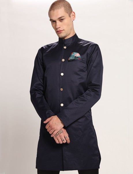 HARISSON LONG NAVY BLUE JACKET - Riviera Closet