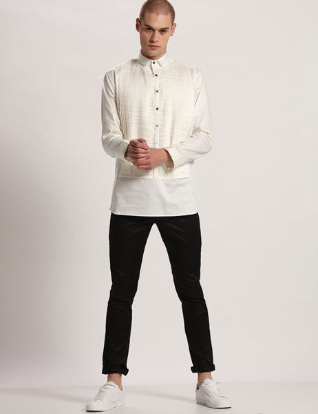 RADISSON PLEATED WHITE SHIRT - Riviera Closet