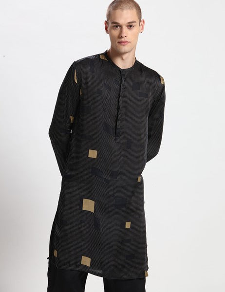 OXFORD BLACK KURTA SET - Riviera Closet