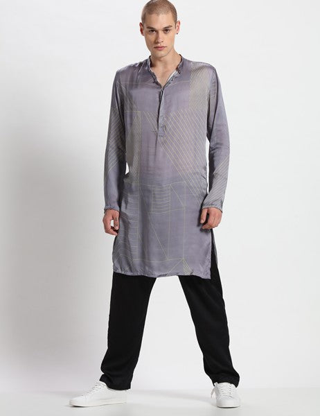 BORRIS GREY KURTA SET - Riviera Closet