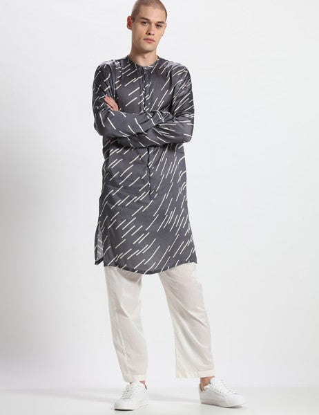 LUMIN GREY KURTA SET - Riviera Closet
