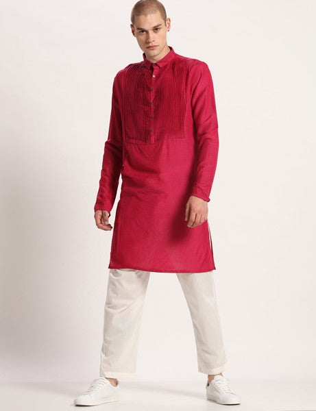RUDOLF PLEATED PINK KURTA SET - Riviera Closet