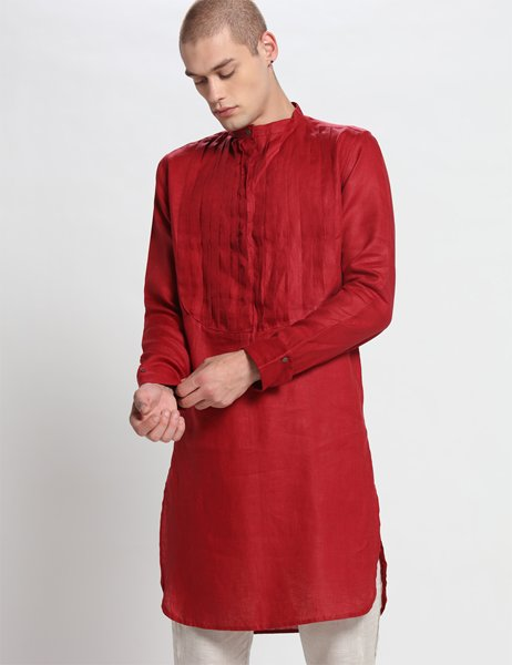 FRANK PLEATED RED KURTA - Riviera Closet