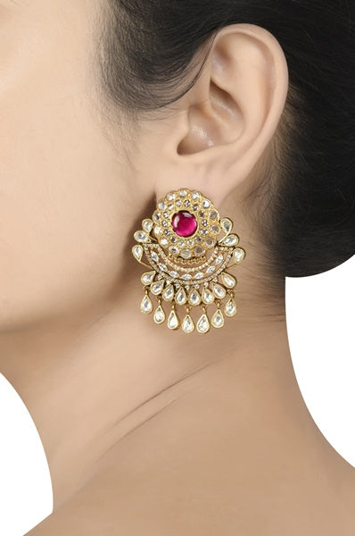 Silver Gold Plated Shimmering Floral Earrings - Riviera Closet