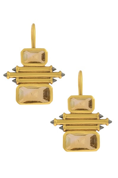 Silver Gold Plated Citrine Double Rectangle Taveez Earrings - Riviera Closet