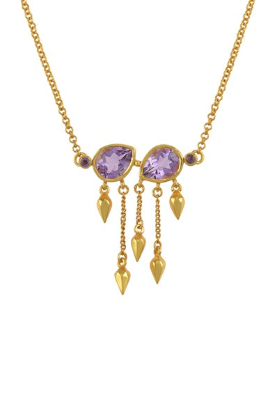 Silver Gold Plated Amethyst Pear Multi Drop Necklace - Riviera Closet