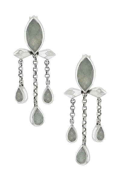 Silver Aquamarine Marquise Triple Drop Earrings - Riviera Closet