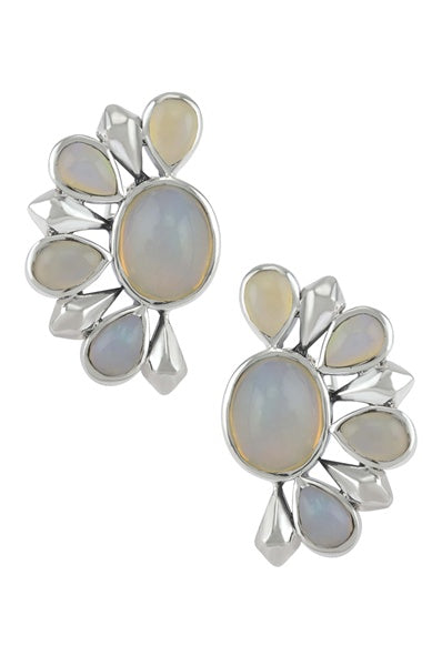 Silver Opal Floral Ear Studs - Riviera Closet