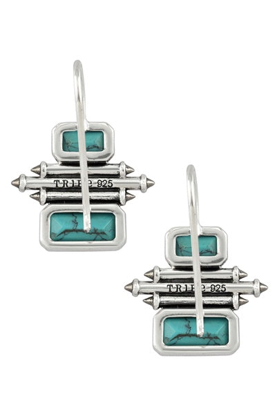 Silver Turquoise Double Rectangle Taveez Earrings - Riviera Closet