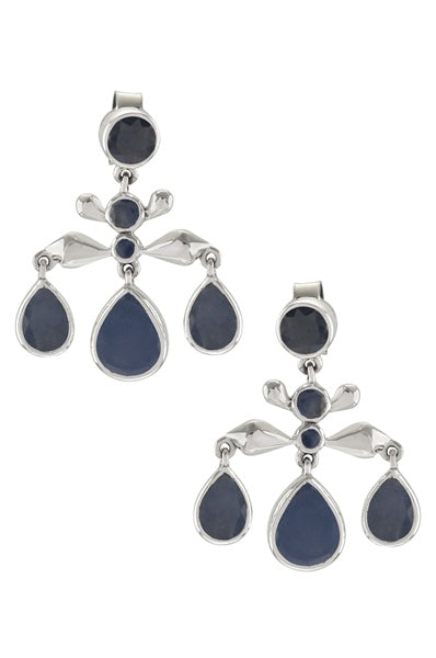 Silver Blue Sapphire Pear Drop Earrings - Riviera Closet