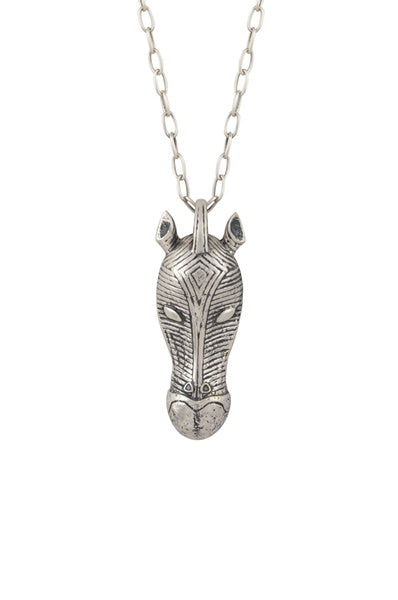 Horse Mask Silver Plated Masaba Necklace - Riviera Closet