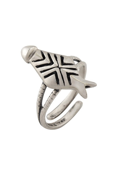 Ivory Mask Silver Plated Masaba Ring - Riviera Closet