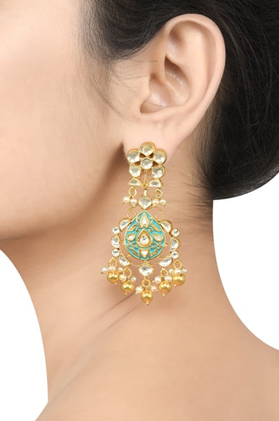 Silver Gold Plated Apsara Floral Blue Enamel Ball Drop Earrings - Riviera Closet