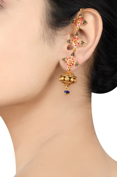 Silver Gold Plated Rangeeli Earrings - Riviera Closet