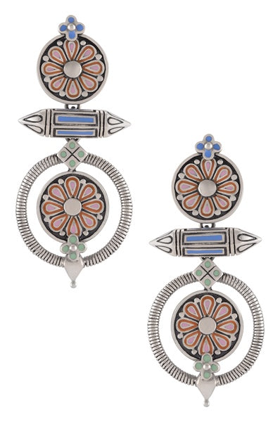 Multi Enamel Chandrika Flower Taveez Earrings - Riviera Closet