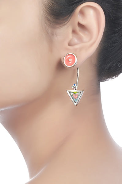 Hand Painted Chandrika Triangle Earrings - Riviera Closet