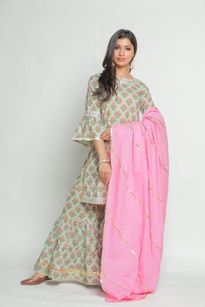 Green Gulmarg Sharara Set with Pink Dupatta - Riviera Closet