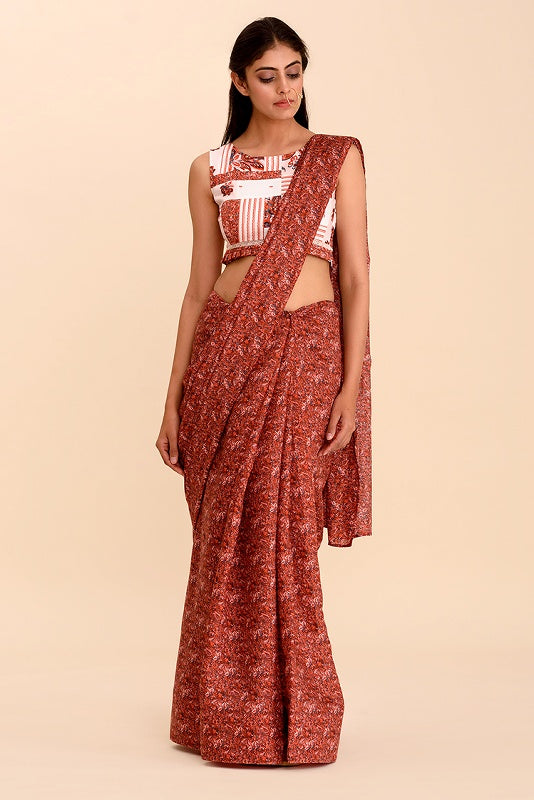 Agni Rosewood Red Digital Printed Bamboo Designer Saree - Riviera Closet