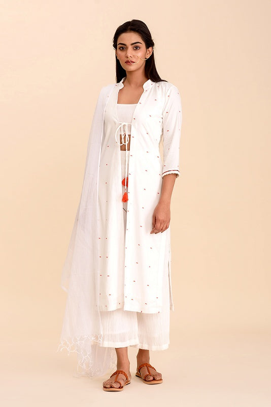 Chaand Porcelain White Kurta Suit Set with Bright Orange Details - Riviera Closet