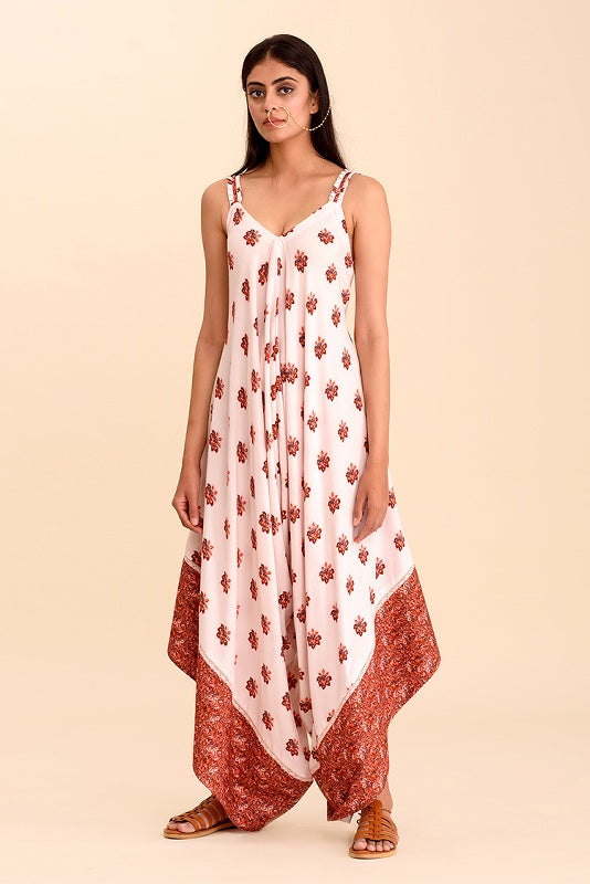 Gulaal Cream Digital Floral Printed Strap Jumpsuit - Riviera Closet