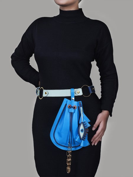 Blue Evil Eye Potli Leather Bag - Riviera Closet