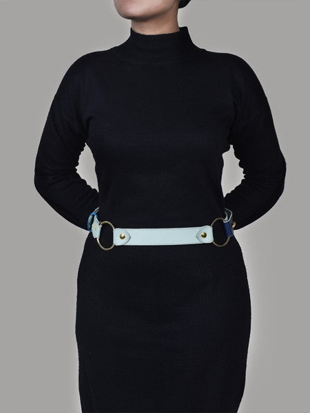 Blue Tone Side Leather Belt for Women - Riviera Closet