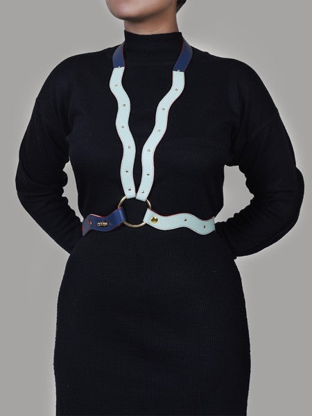 Curvy Blue Nappa Leather Body Belt - Riviera Closet