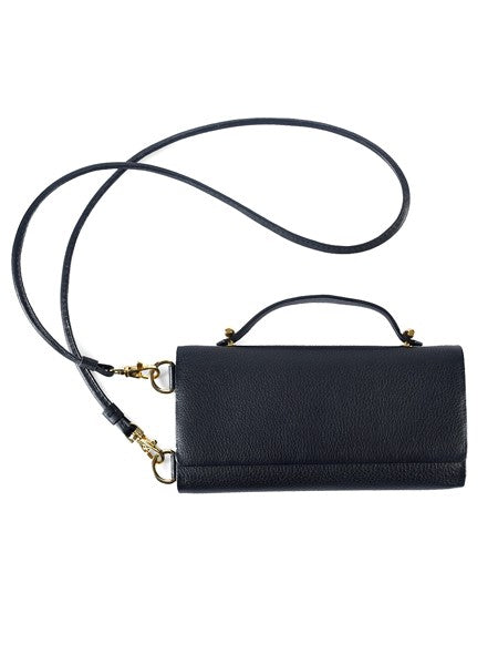 Black Leather Upside Wallet Clutch - Riviera Closet
