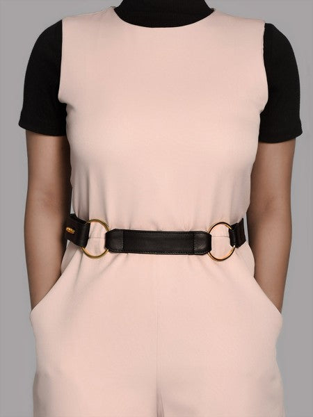 Black Dual Ring Leather Belt for Women - Riviera Closet