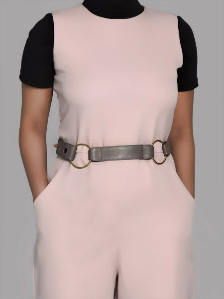 Grey Dual Ring Leather Belt for Women - Riviera Closet
