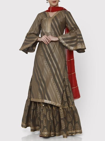 Gold & Brown Ambi Sharara Set - Riviera Closet
