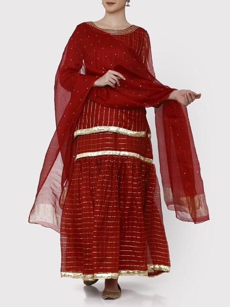Niloufer Ruby Gharara Set - Riviera Closet