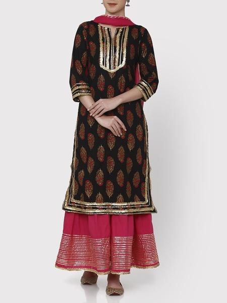 Black & Pink Gulaal Sharara Set - Riviera Closet