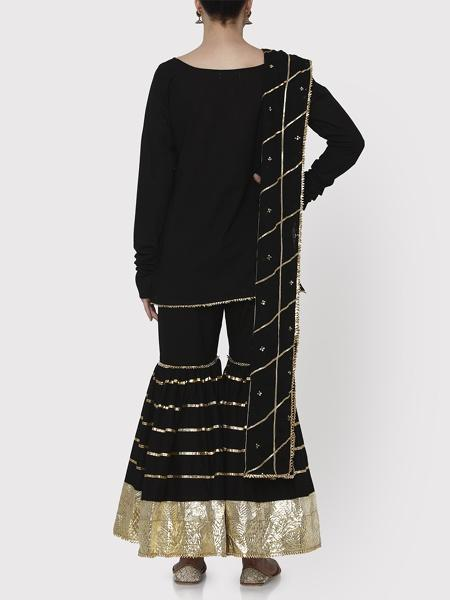 Black & Gold Farshi Kurta Set - Riviera Closet